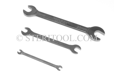 #10060 - SET: 7 pc Stainless Steel Open End Metric Wrench Set 6mm ~ 22mm. wrench, open end, stainless steel, spanner