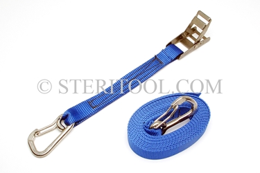 "#10444P - 1.5"" Stainless Steel Overcenter Tie Down with 16 of Poly Webbing & Hooks. tiedown, tie-down, tie down, webbing, strapping, rigging, stainless steel"