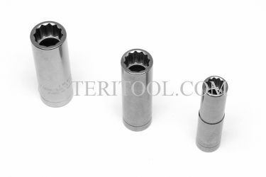 #12258 - 8mm 12pt x 3/8 DR Stainless Steel Deep Socket. 3/8 dr, 3/8dr, 3/8-dr, deep socket, 12pt, 12-pt, 12 pt, stainless steel